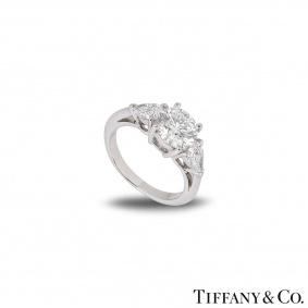 Tiffany & Co. Platinum Three Stone Engagement Ring 1.52ct G/VS1 XXX